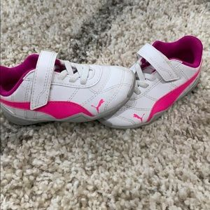 Pink and White toddler Puma sneakers. Super cute!